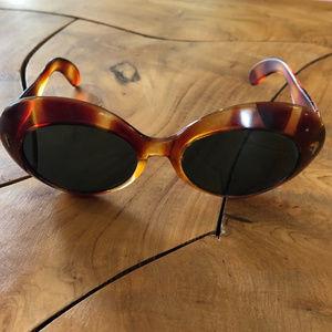60s 70s Mod Sunglasses Oval Large Frame Festival